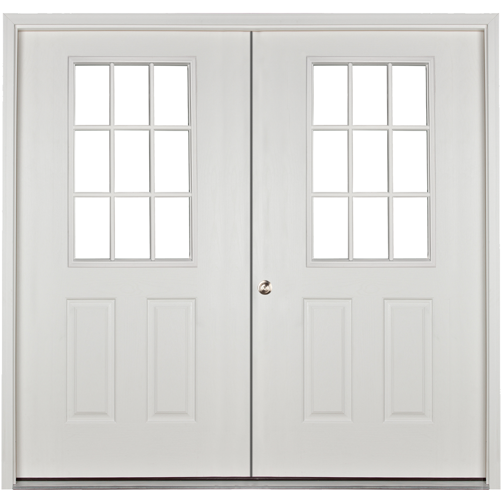 prehung 9 lite 6ft double door for sheds and garages