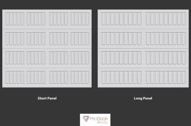 short panel and long panel carriage garage doors for sheds