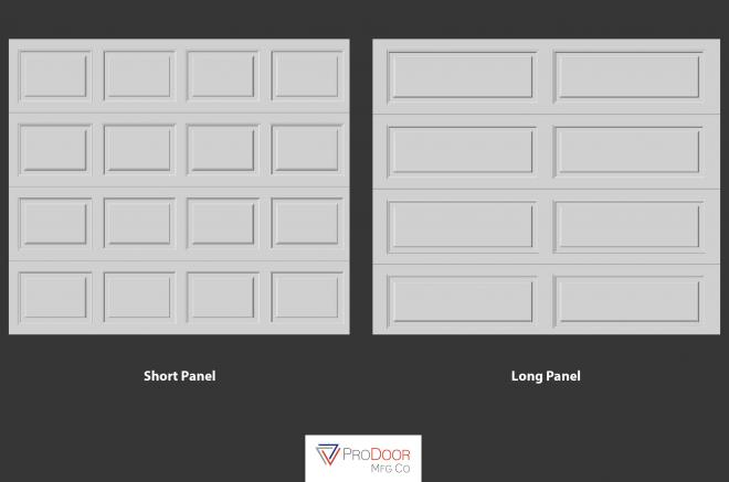 short panel and long panel garage doors for sheds