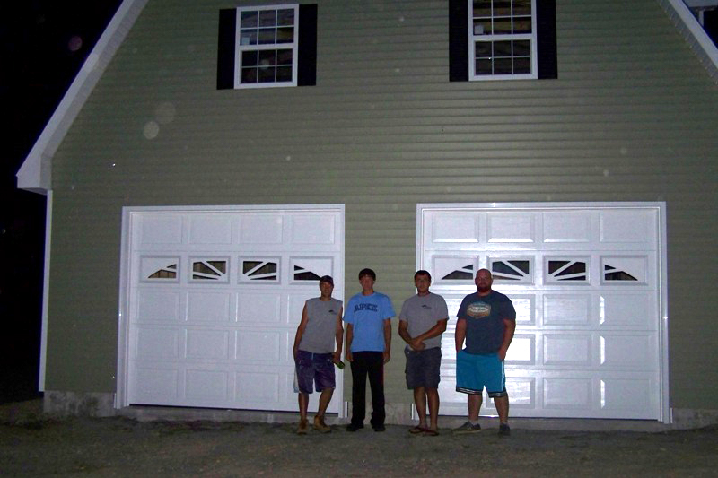 finished picture of 2 car garage with lift building