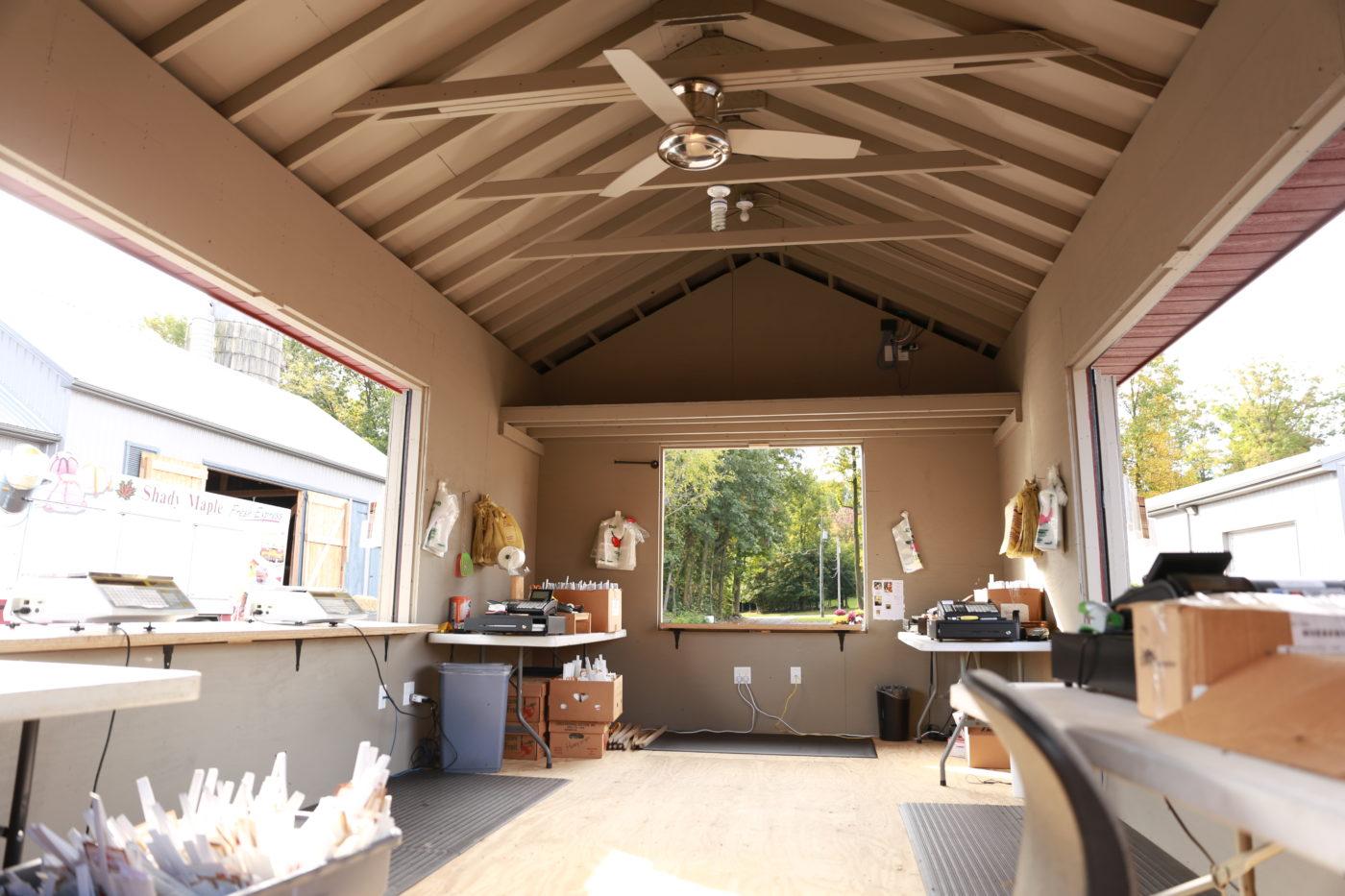 custom built shed inside