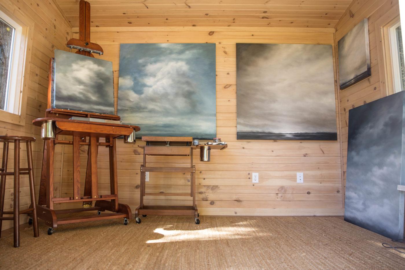 inside a prefab art studio shed