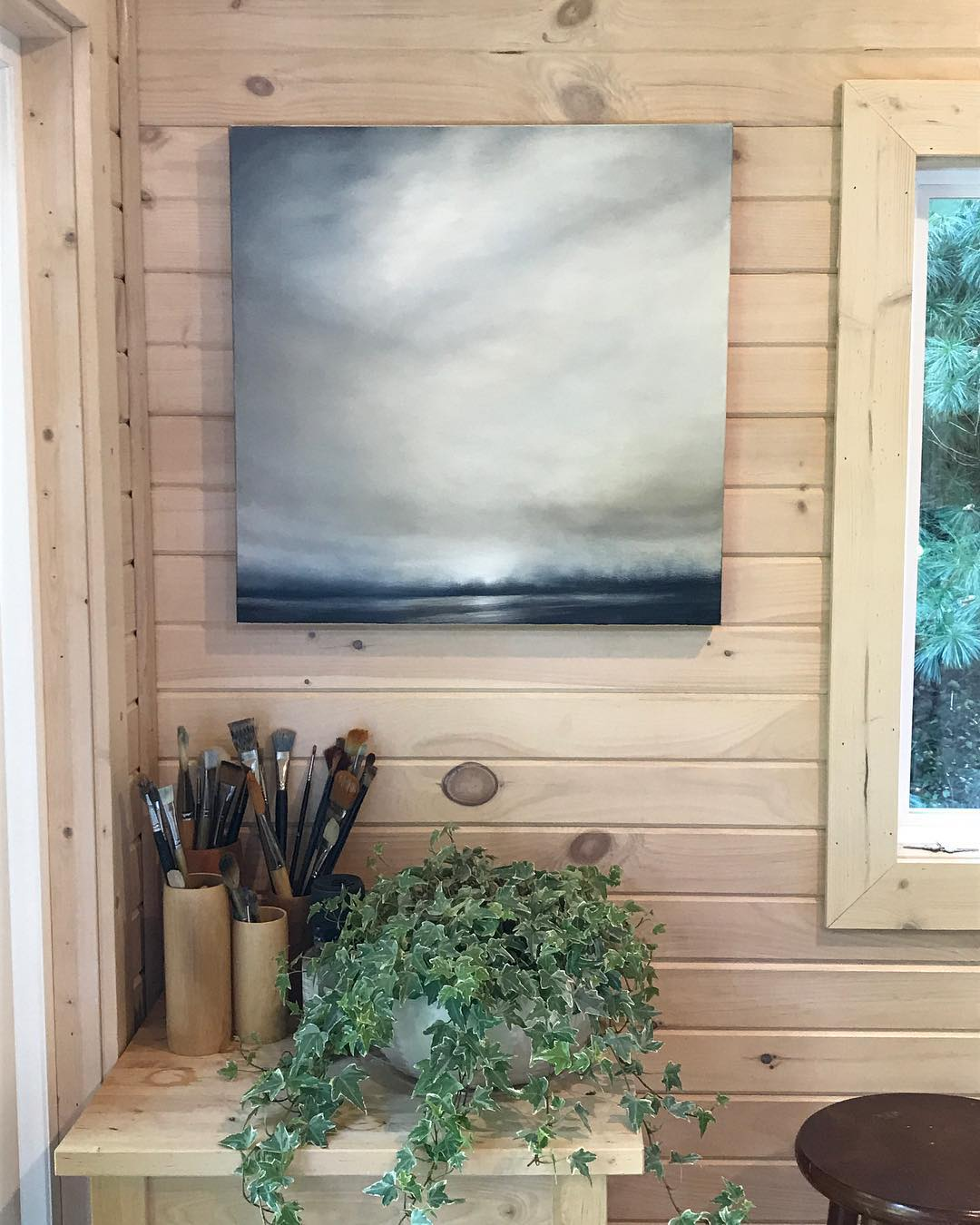 kelley money art in prefab studio shed