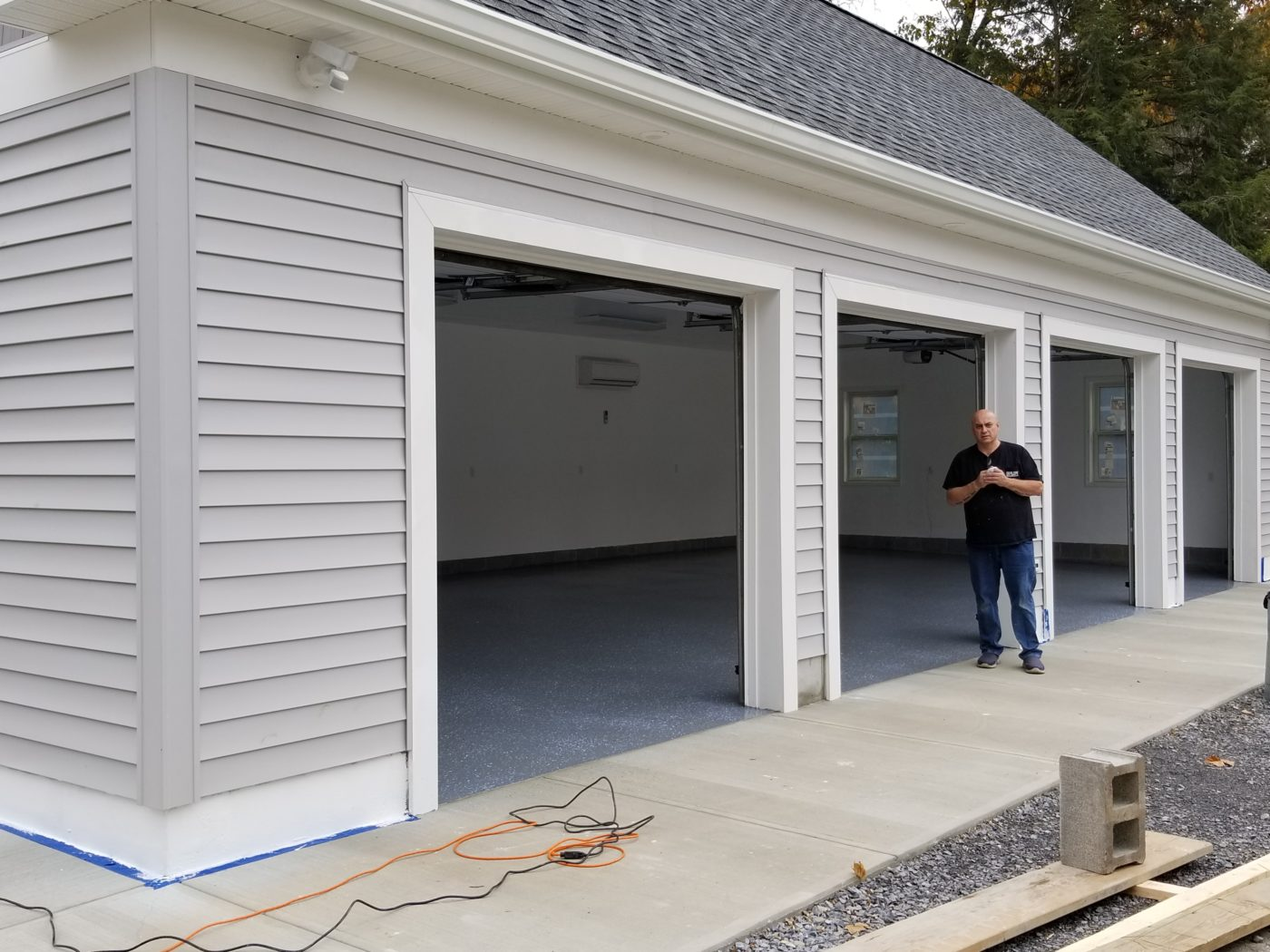 almost completed 4 car garage