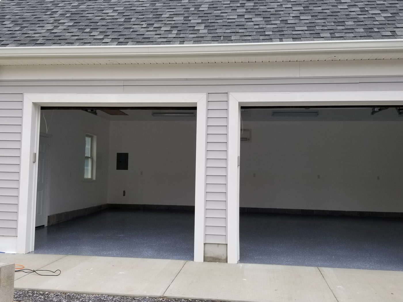 finished interior of four car garage