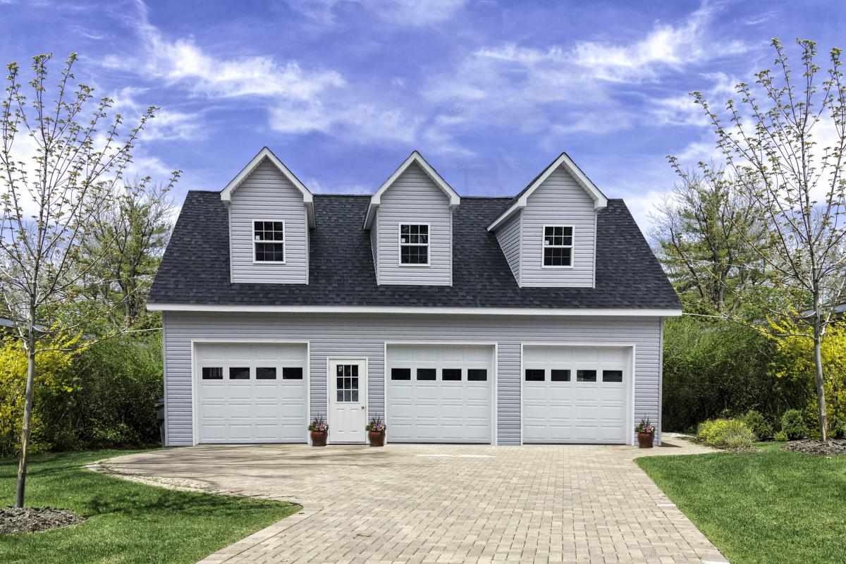 three car garage with attic space