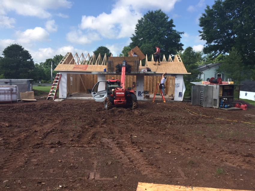 building roof to prefab 3 car garage