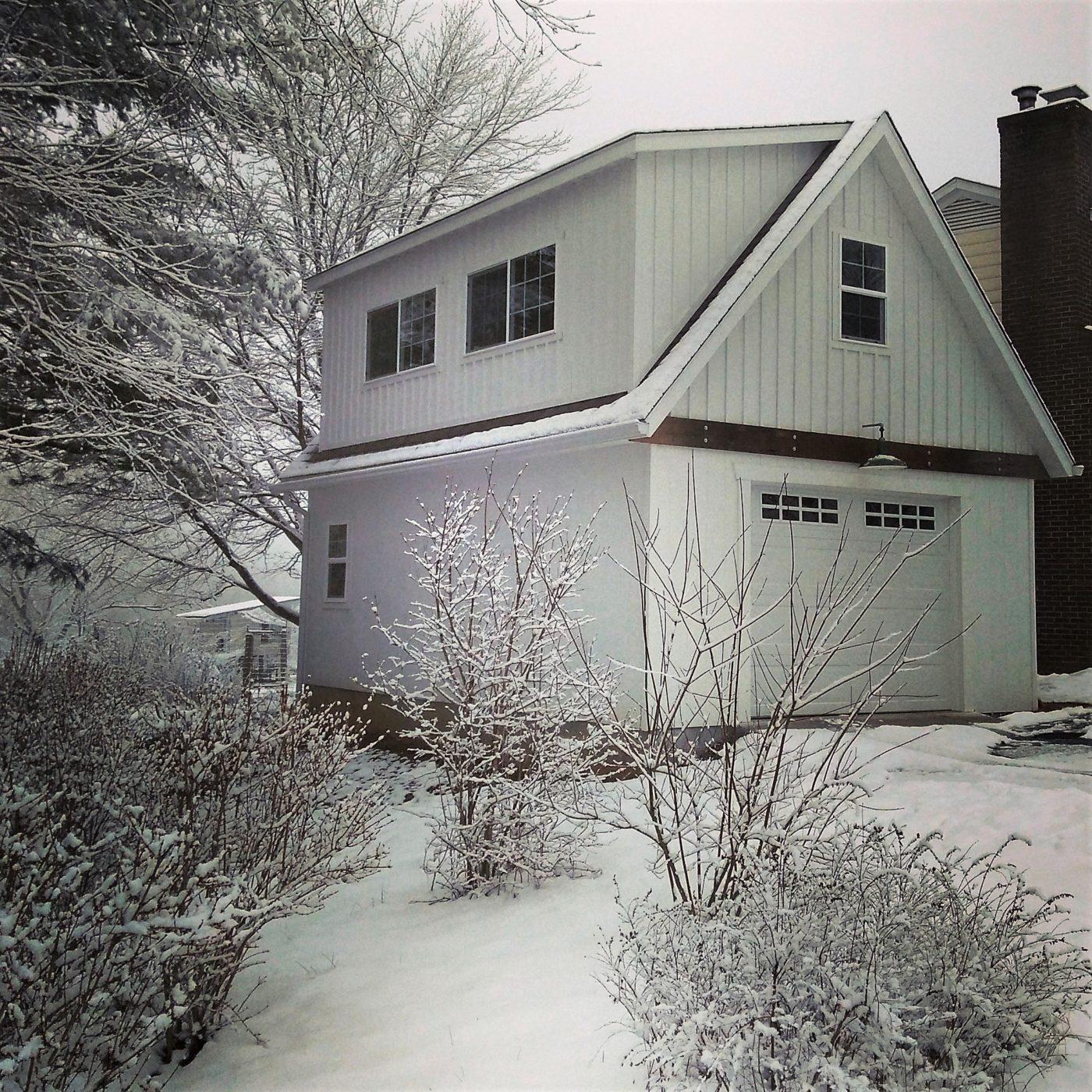 garage in the snow