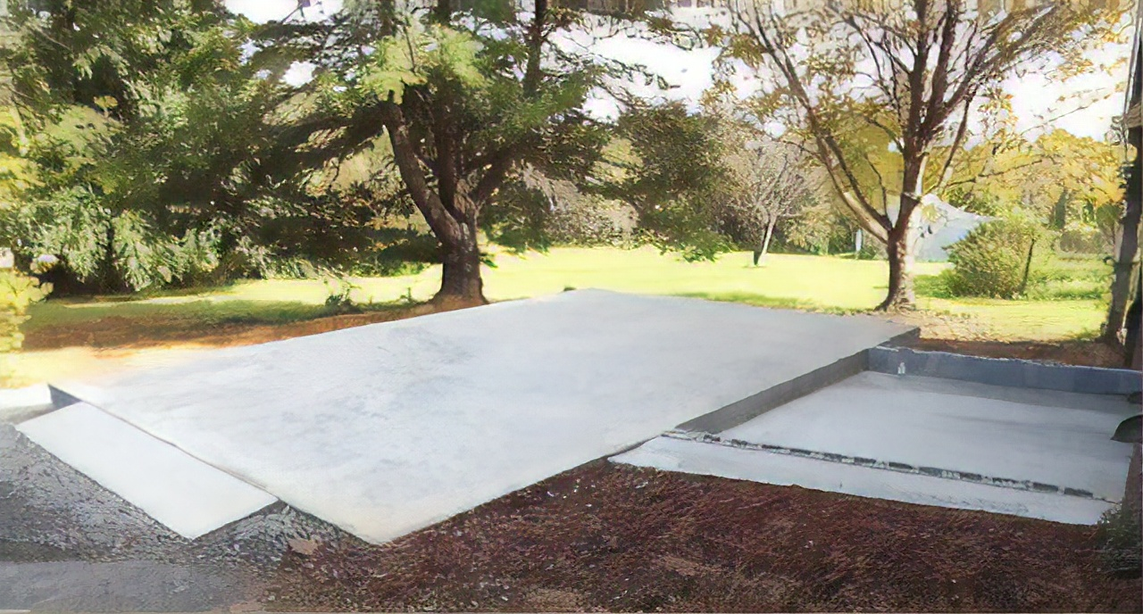 garage pad for two story prefab garage