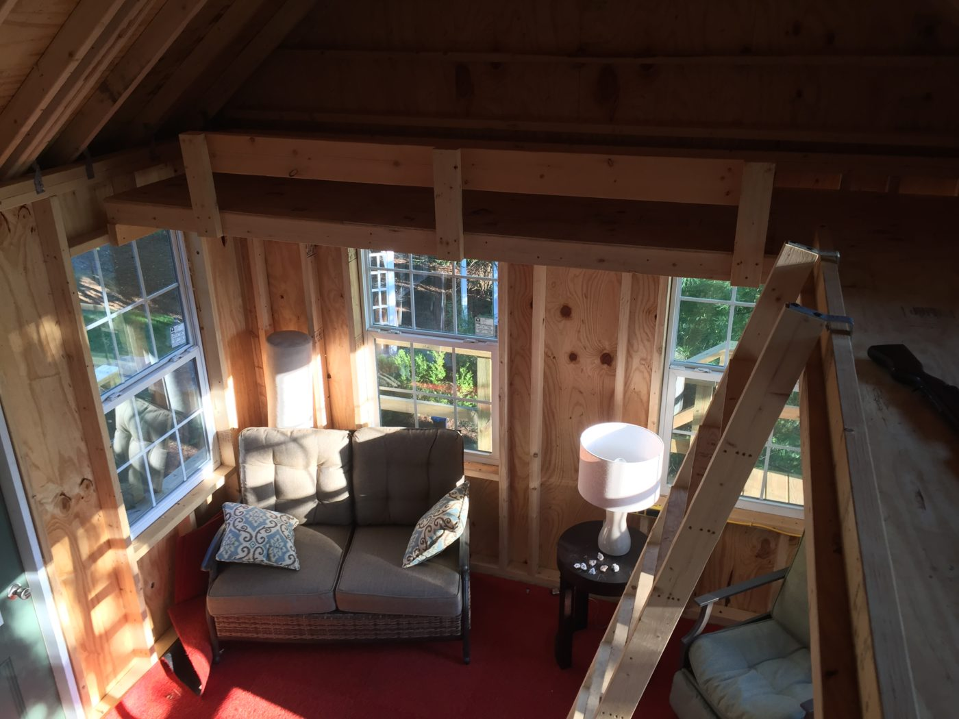 inside beautiful treehouse shed in pa