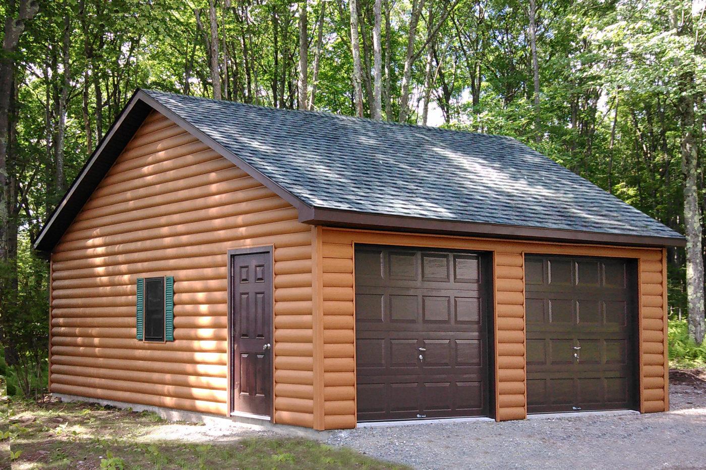 two car garage with log siding